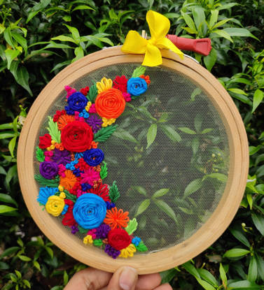 Picture of Floral love wall embroidery hoop art