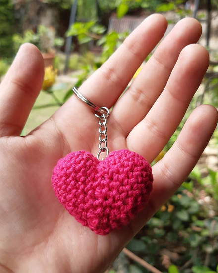 Picture of 3D Crochet Heart Keychain