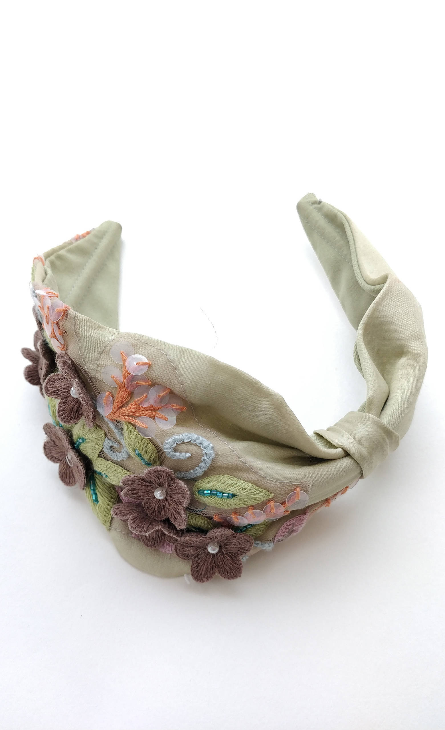Picture of 3d flower on green Hairband