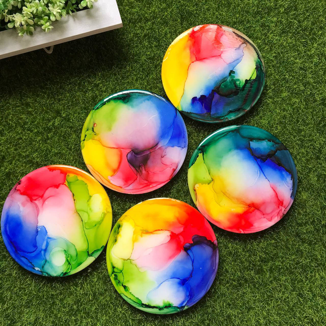 Picture of Disco Ball Alcohol Ink  Coasters Set of 4