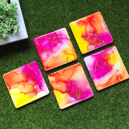 Picture of Bright Alcohol Ink  Coasters Set of 4
