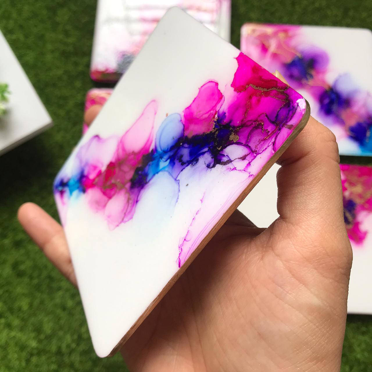 Picture of Shine Alcohol Ink  Coasters Set of 4