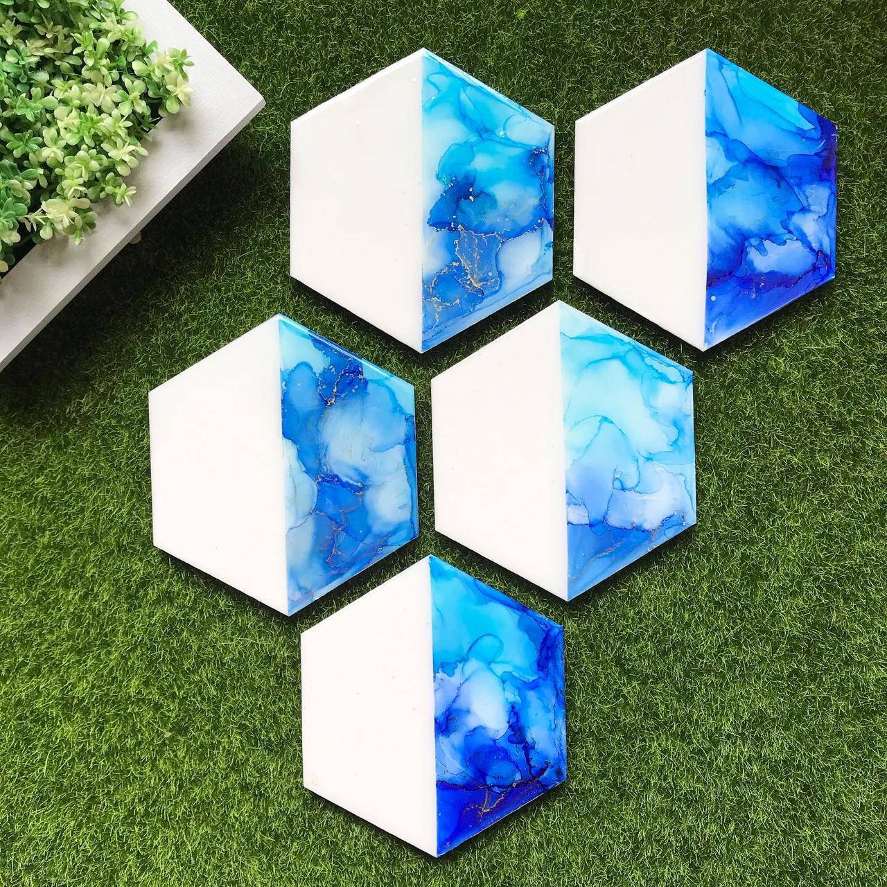 Picture of Blues Alcohol Ink  Coasters Set of 4