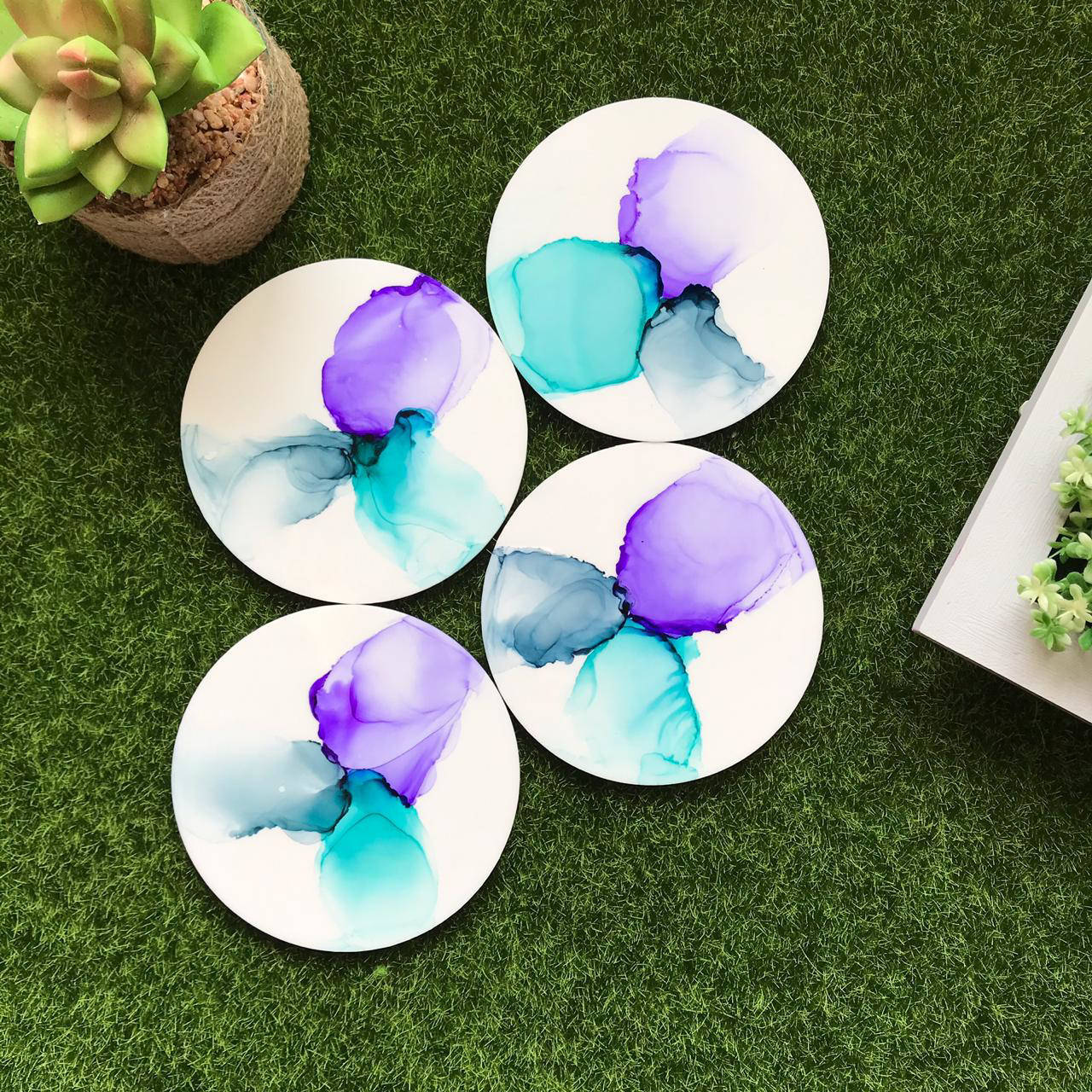 Picture of Serene Alcohol Ink  Coasters Set of 4