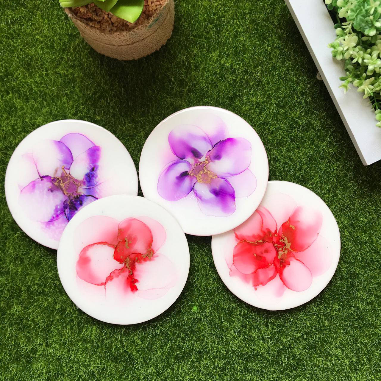 Picture of Blossoms Alcohol Ink  Coasters Set of 4