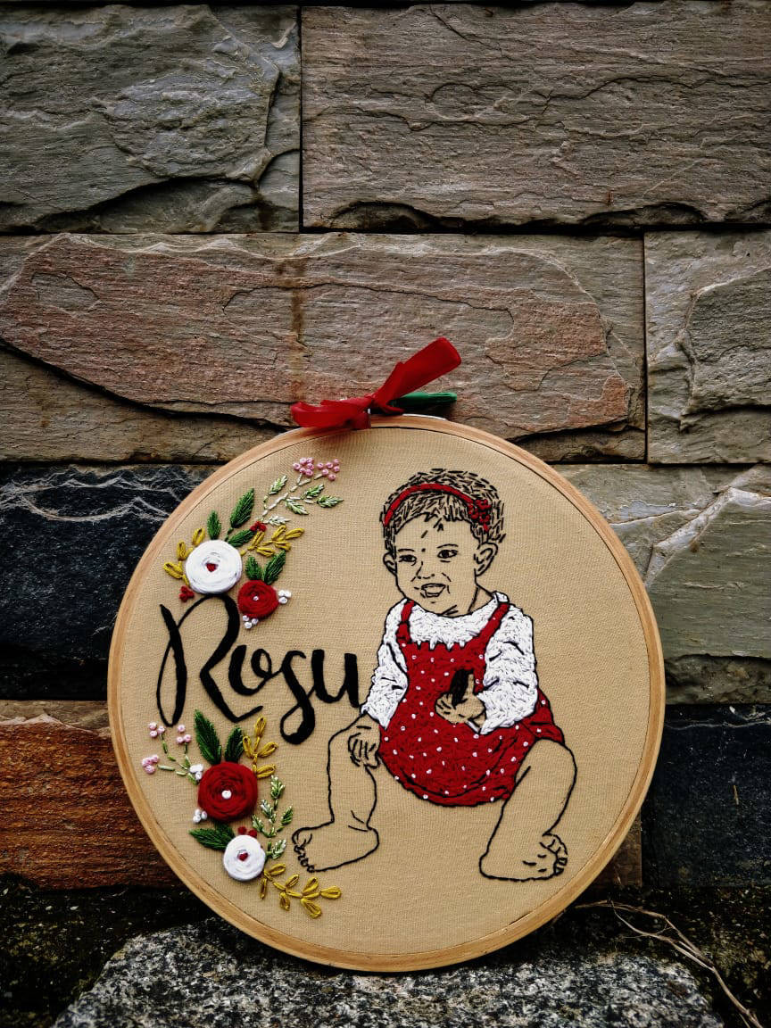 Picture of Handmade embroidered gift - Custom Wall embroidery hoop art