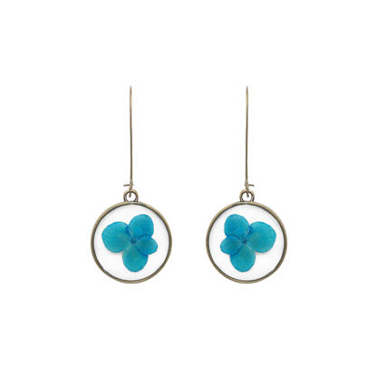Blue Hydragea Earrings With Art Tree Back