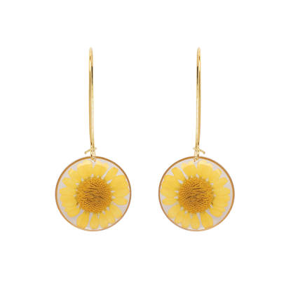 Handmade Yellow Daisy In Gold Earrings