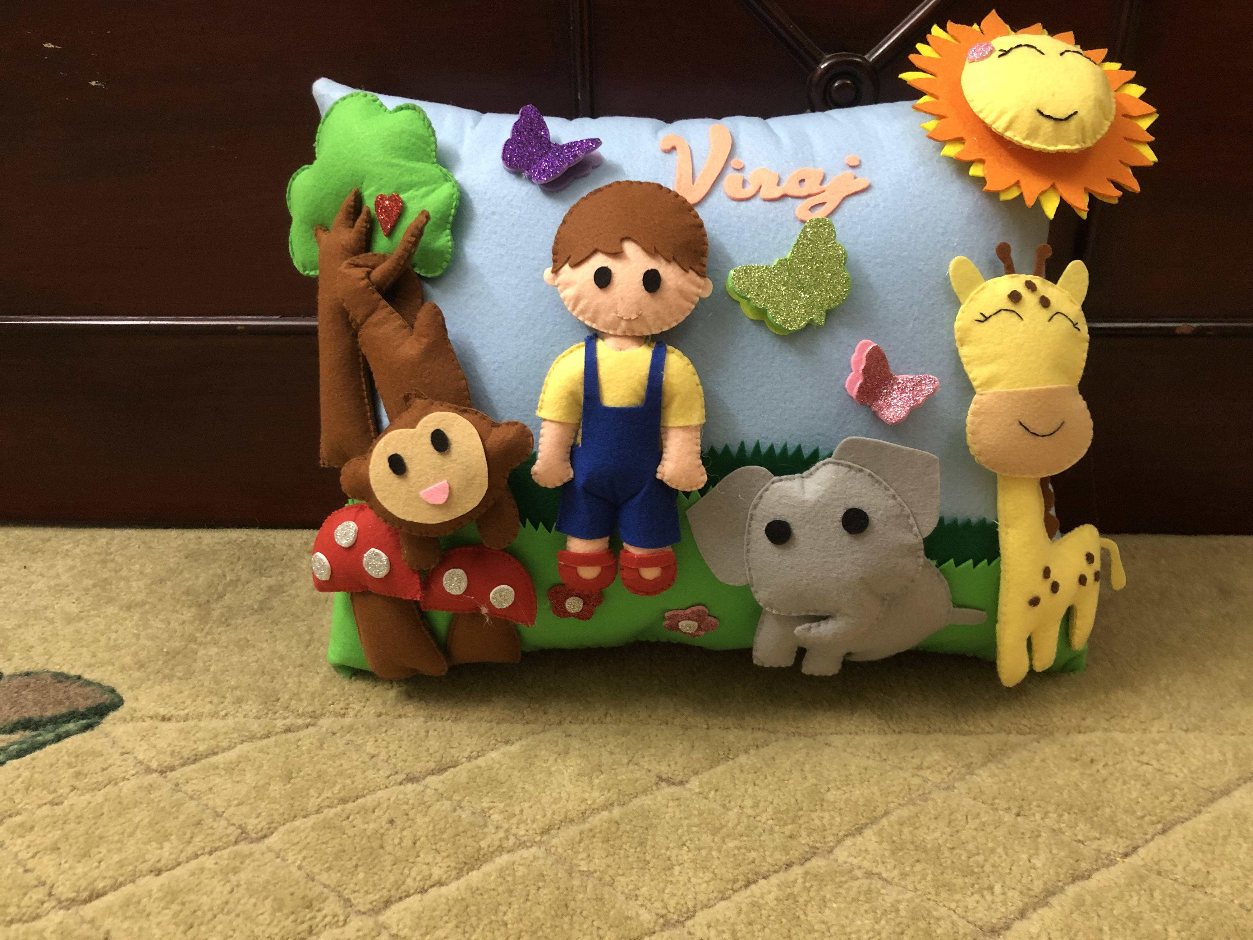 Picture of 3D  Boy and Animal Pillow