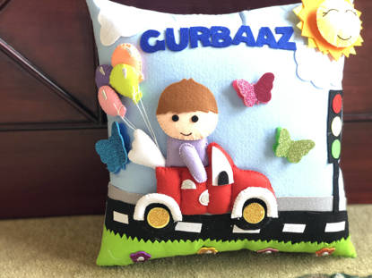 Picture of 3D  Boy on Road Pillow
