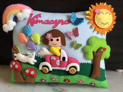 Picture of 3D Girl in Park Pillow
