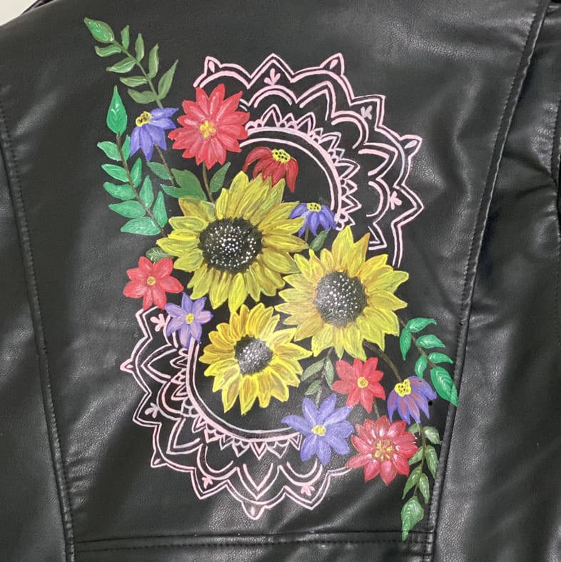 Picture of Flower Child Denim/Leather Jacket
