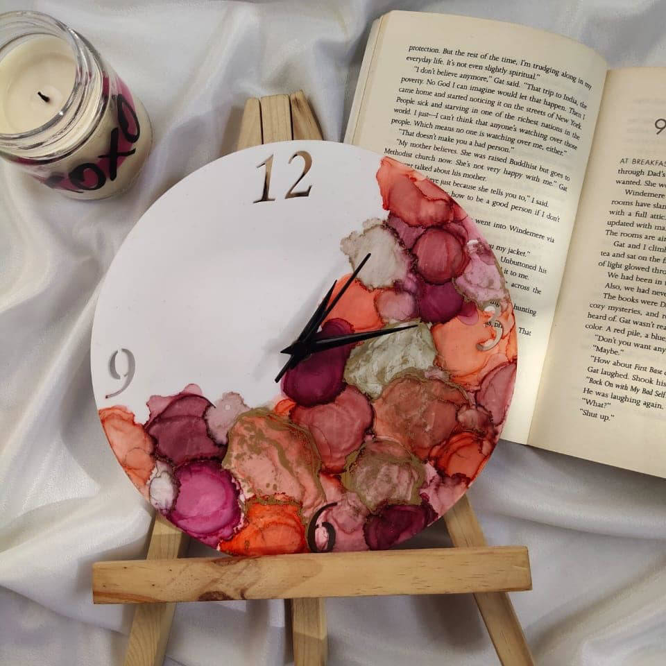Picture of Alcohol Ink  Table Clock with Stand